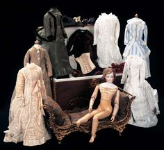 In the Mind's Eye - The Geri Baker Collection: 244 French Bisque Wooden Bodied Poupee with Trunk and Trousseau
