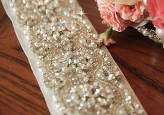 Bridal Sash Crystal Beaded Bridal Sash Rhinestones by VioGemini, $199.99