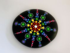 Bohemian dot art-mandala stones-rainbow- hand painted by RockArtiste on Etsy