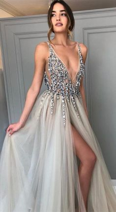 Long Backless Grey Sexy Dresses with Slit Rhinestone See Through Prom Dress Prom Dress Sexy, Prom Dress, Grey Prom Dress, Prom Dress Backless Prom Dresses 2019 Split Prom Dresses, Grey Prom Dress, Beaded Prom Dress, Backless Prom Dresses, A Line Prom Dresses, Homecoming Dresses, Dress Up, Long Dresses, Sexy Dresses