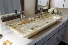 MODERN NATURAL STONE RECTANGLE DOUBLE WHITE PEARL ONYX MARBLE SINK. This original, hand made, high end sink features a smooth, polished texture that will provide the perfect finishing touch for your bathroom !   eBay!