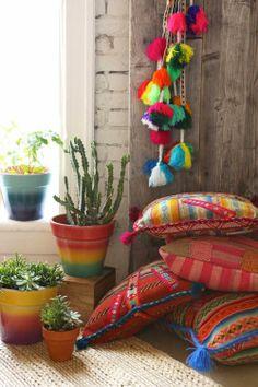 Bohemian house decorating ideas - fun, colorful, casual, throw pillows