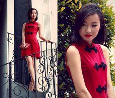 Dressabelle Oriental Buttons High Collar Dress, Zara Nude Leather Pumps, Toscano Small Clutch