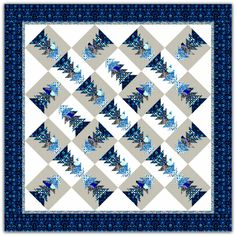 """Modern Sapphire quilt, 83 x 83"""", pattern at Needle in a Hayes Stack"""
