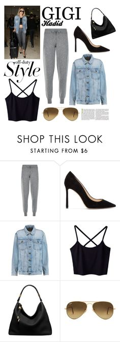 """""""Untitled #456"""" by adriastar ❤ liked on Polyvore featuring Harrods, Jimmy Choo, Current/Elliott, Michael Kors and Ray-Ban"""