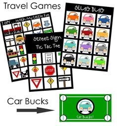 Car Bingo (and other travel games for kids). Free Printables! One user recommends laminating and using with a dry erase marker. This way they can be used over and over again. Great idea!