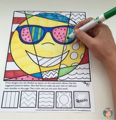 Emoji coloring pages for kids from Art with Jenny K. Teachers know that their students love emojis and these coloring pages and writing prompts are perfect for all!