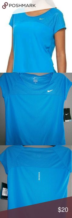 Nike Dri Fit Top NEW  (Large) NEW Women's Nike Run Fast Dri-FIT Crop Running Tee Color: Blue MSRP: $40!!  PRODUCT DETAILS Stay ahead of the competition in this lightweight women's running top from Nike.  PRODUCT FEATURES Perfect for medium-impact exercise Dri-FIT moisture-wicking technology Upper body mesh for ventilation Reflective details Scoopneck Raglan cap sleeves FIT & SIZING Semi-fitted FABRIC & CARE Polyester Machine wash Imported Nike Tops Tees - Short Sleeve