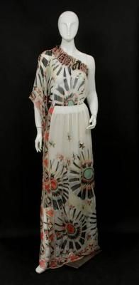Emilio Pucci White Silk Print Long One Sleeve Dress Size I 42 One Sleeve Dress, White Silk, Emilio Pucci, Put On, Frocks, New Dress, Vintage Fashion, Vanilla Cream, Elegant