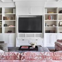 Burnham Design - living rooms - coffered ceiling, white, built-ins, media center, beadboard, doors, TV, built-in, TV, nook, back, shelves, l...