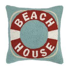 Beach House Life Buoy Hook Wool Throw Pillow