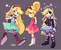 The different outfits of Star