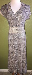 Anthropologie Deletta Blue Beige Lined Dress S