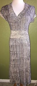 Anthropologie Deletta Blue Beige Lined Dress S