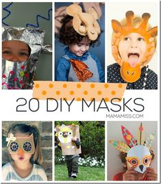 20 DIY Masks. Great for pretend play!