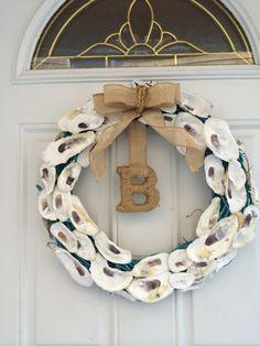 Best Shell wreath ideas on Wreath Crafts, Diy Wreath, Burlap Wreath, Wreaths, Wreath Ideas, Oyster Shell Crafts, Oyster Shells, Sea Crafts, Seashell Crafts