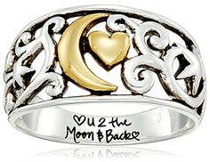 Two Tone Sterling Silver and Yellow Gold Flashed Filigree Ring with Moon and Star Love You to the Moon and Back Ring Size 7 *** You can find out more details at the link of the image.Note:It is affiliate link to Amazon.