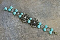Turquoise and Antique Gold Slider Bracelet