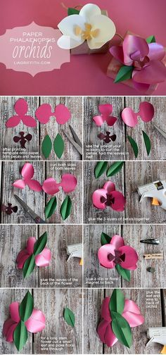 DIY Paper Orchid - Make A Paper Orchid – Learn how to make orchids out of paper with this tutorial - Paper Flower Tutorial, Paper Flowers Diy, Handmade Flowers, Flower Crafts, Diy Paper, Fabric Flowers, Paper Art, Paper Crafts, Diy Crafts