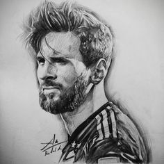 My pencil hand-drawing of Lionel Messi Pencil Portrait Drawing, Portrait Sketches, Art Sketches, Pencil Drawings, Sports Art, Soccer Sports, Soccer Tips, Nike Soccer, Soccer Cleats
