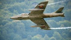 One of the most beautiful fast jets, the Hawker Hunter from the 1950s. Apparently it is still flown by the Lebanese Air Force [Photo: Cedric Dessonaz]
