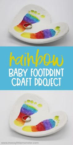 Clay baby footprint art. Clay bowl craft with rainbow footprints. Craft Activities For Kids, Crafts For Teens, Preschool Crafts, Kids Crafts, Baby Footprint Crafts, Clay Bowl, Baby Footprints, Baby Keepsake, Baby Feet
