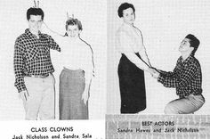 Jack Nicholson's High School yearbook of 1954 where he was voted class clown and best actor