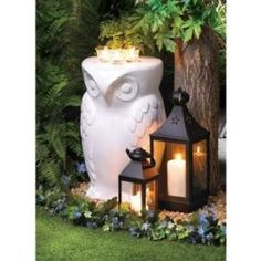 Set of 3 Outdoor Decorations - Owl Stool - 2 Candle Lanterns