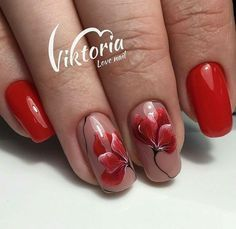 Nail Art Simple Fresh How to Nail Art Elegant Simple Nails Fancy Nails, Red Nails, Cute Nails, Pretty Nails, Floral Nail Art, Flower Nails, Nail Manicure, Manicure Ideas, Simple Nails