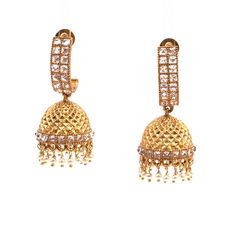 Indian Ethnic Pakistani Gold Plated Bridal Jhumka Chandelier Earring For Woman
