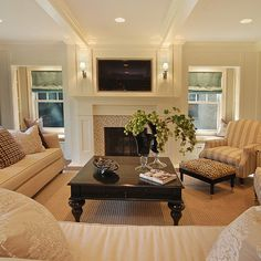 Living Room and Fireplace...love this arrangement & simplicity