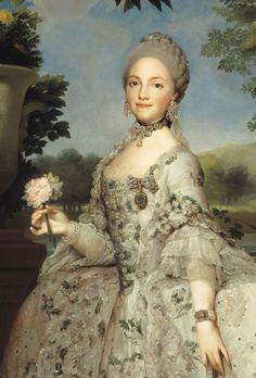Anton Raphael Mengs [German Neoclassical Painter, 1728-1779] María Luisa of Parma, Princess of Asturias (detail) circa 1765 oil on canvas 152.1 × 110.5 cm (59.9 × 43.5 in) - the original Museo del Prado, Madrid, Spain