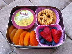 @Sabra McKibbon hummus & peace pretzel snack bento in @LunchBots by bentoriffic, plant based lunches