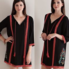 Embroidered Black Dress  S M L Black and red embroidered shift dress with tassels on neckline and 3/4 sleeves. Sizes: Small, Medium and Large available. Runs true to size. Comment below with size and I will create a separate listing for you to purchase. Dresses