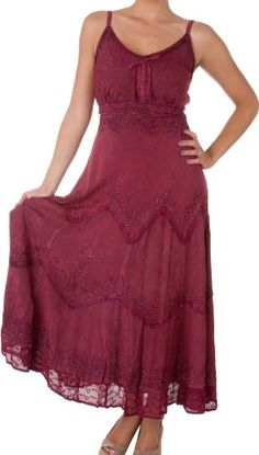 Sakkas Stonewashed Rayon Embroidered Adjustable Spaghetti Straps Long Dress - Listing price: $74.99 Now: $35.00
