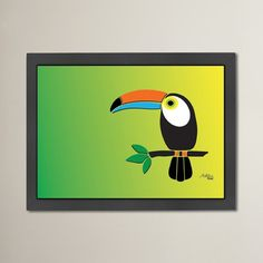 "Bay Isle Home Alberta Toucan Print Framed Graphic Art Size: 20.5"" H x 26.5"" W x 1.5"" D"