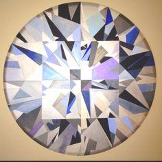Diamond Painting. Acrylic on Canvas 3' dia by artist Ruby Perman