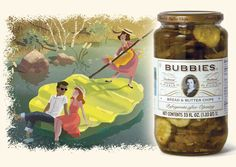 Product illustration: Bubbie poling a young couple on a pickle chip raft.