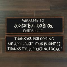 Custom Wood Entrance / Exit Sign - Custom Small Business Restaurant Welcome Signs - Custom Wood Sign