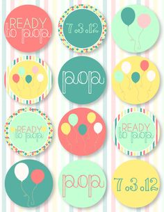 Ready To Pop Baby Shower PRINTABLE Party Circles by Love The Day. $14.00, via Etsy.