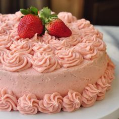 Strawberry Mascarpone Cream Cake - no artificial color added, just natural strawberry color and flavor. A vanilla sponge cake gets a creamy mascarpone, strawberry and whipped cream filling before being frosted with beautiful pink strawberry buttercream. Rock Recipes, Cake Recipes, Dessert Recipes, Cupcakes, Cupcake Cakes, Just Desserts, Delicious Desserts, Vanilla Sponge Cake, Strawberry Recipes