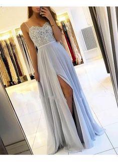 Silberne Abendkleider - Prom Makeup For Brown Eyes Evening Dress Long, Chiffon Evening Dresses, Elegant Dresses, Pretty Dresses, Formal Dresses, Casual Dresses, Grad Dresses, Homecoming Dresses, Dresses Dresses