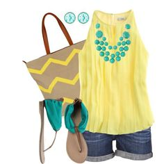 Love the yellow shirt and turquoise accessories.