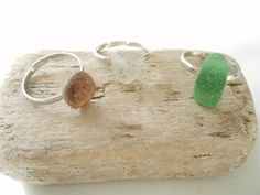 Adjustable genuine tricolor sea glass ring by HandmadeBeachCraft, $15.00