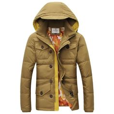 Top-Quality NEW 2016 Men's Fashion Duck Down Hooded Winter Coat 3 Colors L-4XL