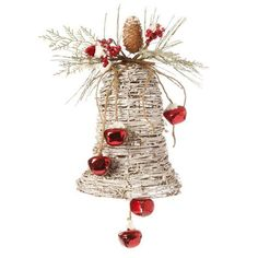 Frosted Grapevine Bell Christmas Decoration  Made of Grapevine Measures 11 X 6.5  Grapevine twig shaped bell, decorated with red jingle bells, and pine spray and berries. From the 2013 RAZ Aspen Sweater Collection of RAZ Imports....see more RAZ at www.trendytree.com