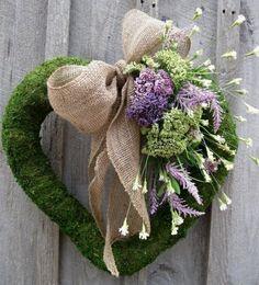 Moss Wreath Heart Wreath Summer Door Decor by NewEnglandWreath Wreath Crafts, Diy Wreath, Door Wreaths, Burlap Wreath, Corona Floral, Moss Wreath, Burlap Bows, Burlap Flowers, Dried Flowers