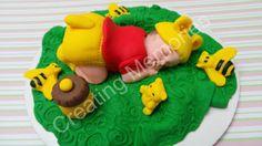 Baby Yellow Bear/baby/ Fondant baby girl/ edible Cake Topper/ Bear baby/ cupcake topper/ Fondant topper/ baby shower