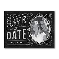 Chalkboard Chic - Photo Save the Date Card. Available at Persnickety Invitation Studio.