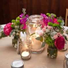 Mason jar wedding center pieces
